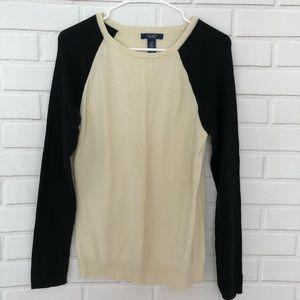 CHAPS Sweater Top Beige & Black Colorblock Large